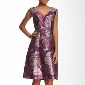 Adrianna Papell purple floral jacquard dress